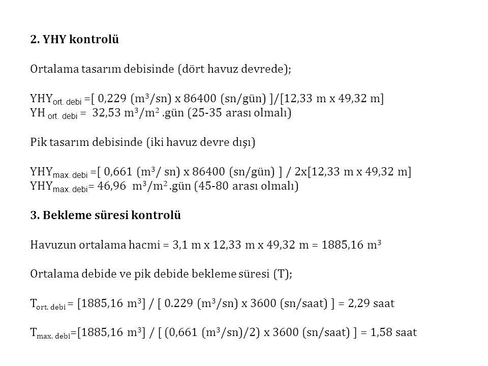 2. YHY kontrolü Ortalama tasarım debisinde (dört havuz devrede); YHYort. debi =[ 0,229 (m3/sn) x 86400 (sn/gün) ]/[12,33 m x 49,32 m]